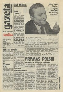 """1989-05-08-gazeta-wyborcza-nr-1_str-1-205x300 Warszawskie biuro wyborcze """"S"""" - NIESPODZIANKA"""
