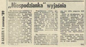 """1989-06-01-niespodzianka-wyjasnia-gw18-300x164 Warszawskie biuro wyborcze """"S"""" - NIESPODZIANKA"""
